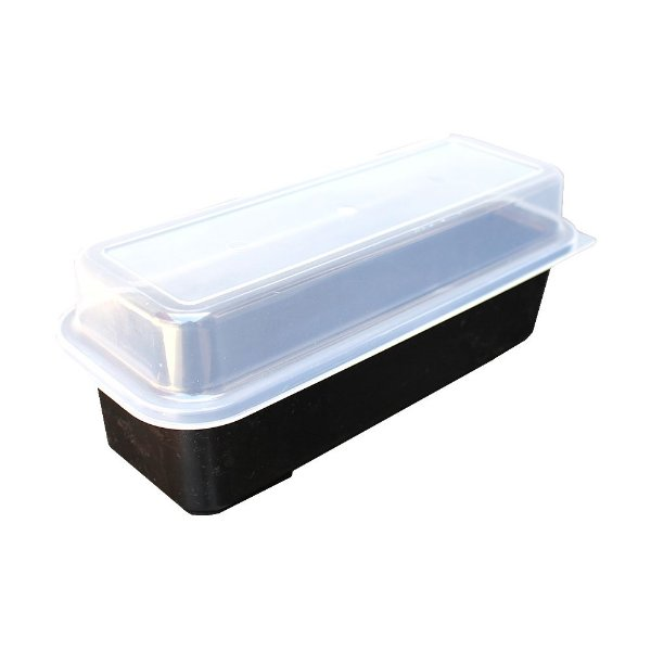 Porta Pão de Forma com Tampa Usual Plastic de Plástico Translúcido 32 x 13 x 12 cm - Cor: Preto - Ref. 236