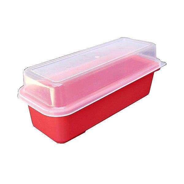 Porta Pão de Forma com Tampa Usual Plastic de Plástico Translúcido 32 x 13 x 12 cm - Cor: Vermelho - Ref. 236