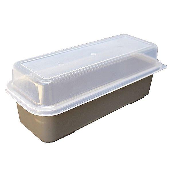 Porta Pão de Forma com Tampa Usual Plastic de Plástico Translúcido 32 x 13 x 12 cm - Cor: Cinza - Ref. 236