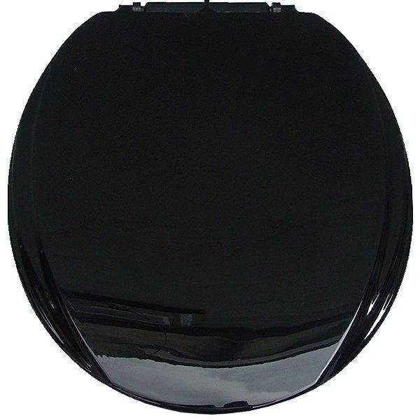 Assento Sanitário Oval Mebuki Línea Light com Tampa Envolvente 39 x 44 x 3 cm - Cor: Preto - ASS13