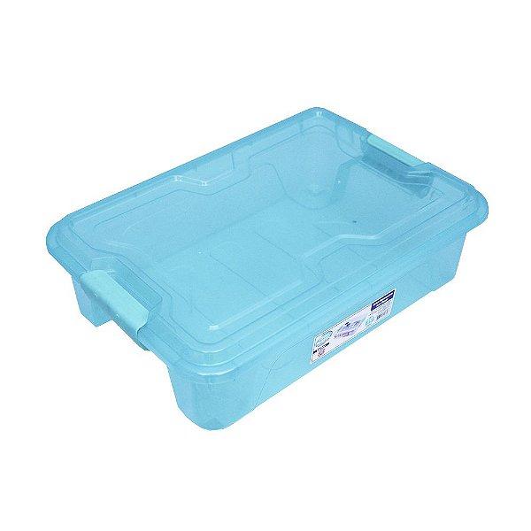 Organizador Multiuso de Plástico 10L Tampa e Travas Usual Plastic 41,7 × 29,2 × 12,2 cm - Cor: Verde Trans - Ref. 367