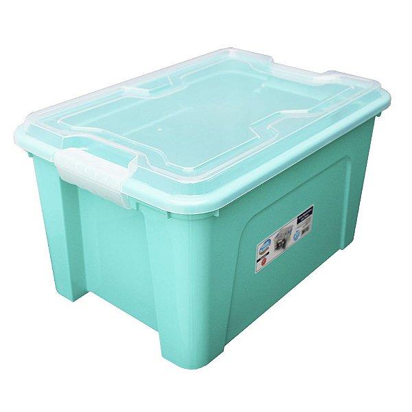 Organizador Multiuso de Plástico 20L Tampa e Travas Usual Plastic 41,7 × 29,2 × 23 cm - Cor: Verde Sólido - Ref. 389