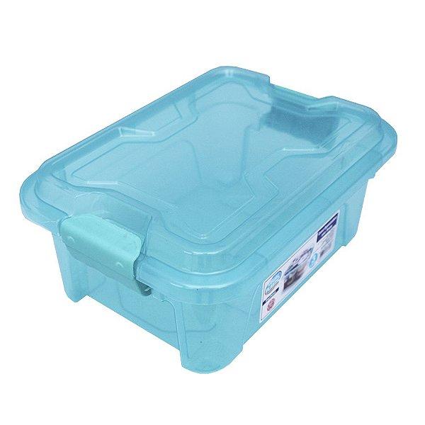 Organizador Multiuso de Plástico 20L Tampa e Travas Usual Plastic 41,7 × 29,2 × 23 cm - Cor: Verde Translúcido -Ref. 390