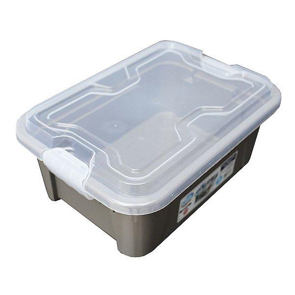 Organizador Multiuso de Plástico 5L Tampa e Travas Usual Plastic 30 × 21,5 × 13,5 cm - Cor: Cinza Sólido - Ref. 416