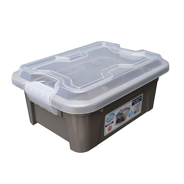 Organizador Multiuso de Plástico 3L Tampa e Travas Usual Plastic 25,5 x 19 x 11,5 cm - Cor: Cinza Sólido - Ref. 419