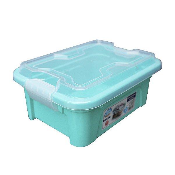 Organizador Multiuso de Plástico 3L Tampa e Travas Usual Plastic 25,5 x 19 x 11,5 cm - Cor: Verde Sólido - Ref. 419