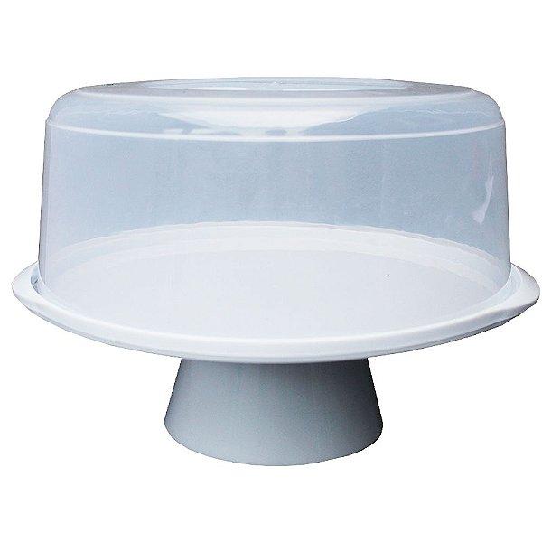 Boleira com Tampa e Pedestal de Plástico Usual Plástic 35 × 32,5 × 23,7 cm - Cor: Branco com Transparente - Ref. 381