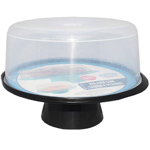 Boleira com Tampa e Pedestal de Plástico Usual Plástic 35 × 32,5 × 23,7 cm - Cor: Preto com Transparente - Ref. 381