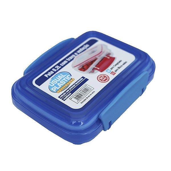 Pote com Tampa Azul Translúcido Usual Plastic com Trava e Vedação 0,2 Litros - Medidas: 11,3 x 8,5 x 3,9 cm - Ref. 239