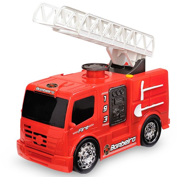 Caminhão de Bombeiros 193 com Escada Articulada e Rodas Cromadas Usual Plastic Brinquedos - Ref. 149