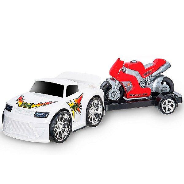 Carro Flash Sport com Moto e Rodas Cromadas Usual Plastic Brinquedos - Ref. 118