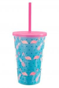 Copo de Plástico Decorado com Tampa e Canudo Usual Plastic 550 ml - Motivo: Pop 1 - Ref. 422