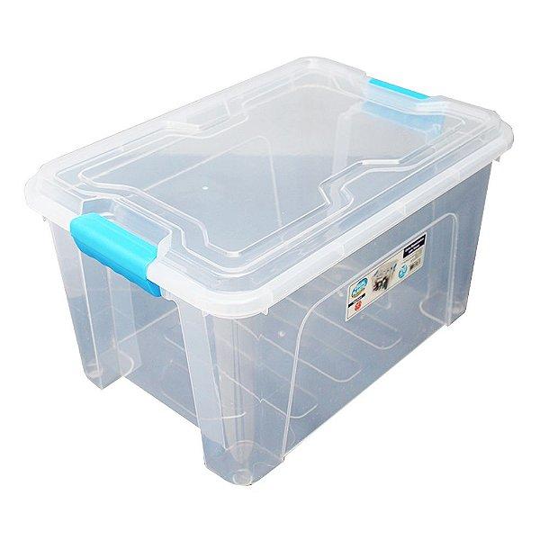 Organizador Multiuso de Plástico 20L Azul Tampa e Travas Usual Plastic 41,7 × 29,2 × 23 cm - Cor: Transp - Ref. 388