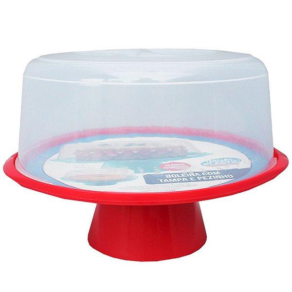 Boleira com Tampa e Pedestal de Plástico Usual Plástic 35 × 32,5 × 23,7 cm - Cor: Vermelho com Transparente - Ref. 381