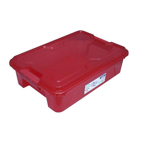 Organizador Multiuso de Plástico 10L Tampa e Travas Usual Plastic 41,7 × 29,2 × 12,2 cm - Cor: Vermelho Trans - Ref. 367