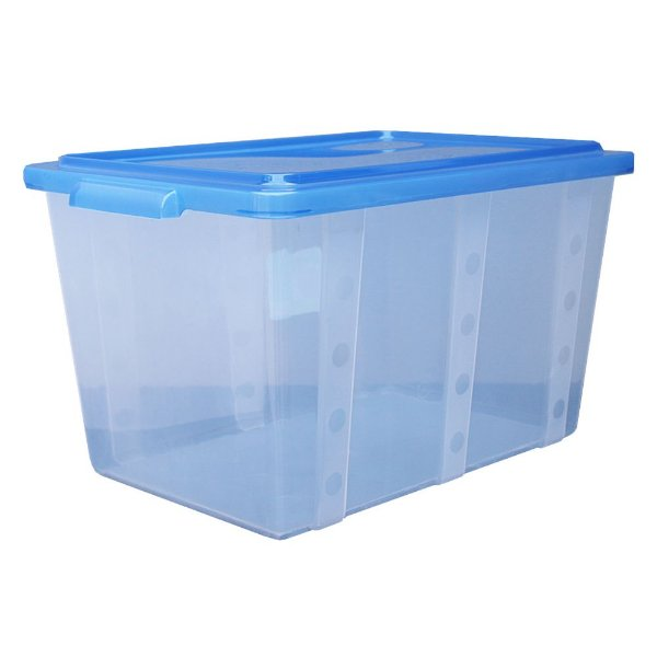 Organizador Multiuso de Plástico 35L Tampa e Travas Usual Plastic 52 x 34 x 29 cm - Cor: Azul Translúcido - Ref. 303
