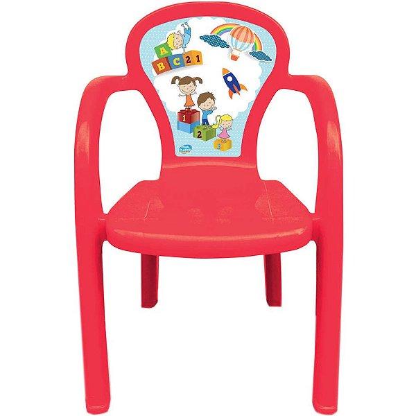 Cadeira Infantil Decorada de Plástico Usual Plastic 35 x 32 x 51 cm - Modelo: Vermelho Educativa - Ref. 276