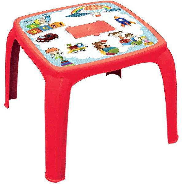 Mesa Infantil Decorada de Plástico Usual Plastic 57 x 57 x 45 cm - Modelo: Vermelha Educativa - Ref. 275