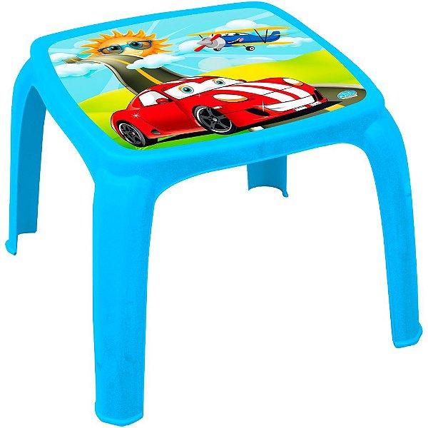 Mesa Infantil Decorada de Plástico Usual Plastic 57 x 57 x 45 cm - Modelo: Azul Carro - Ref. 273
