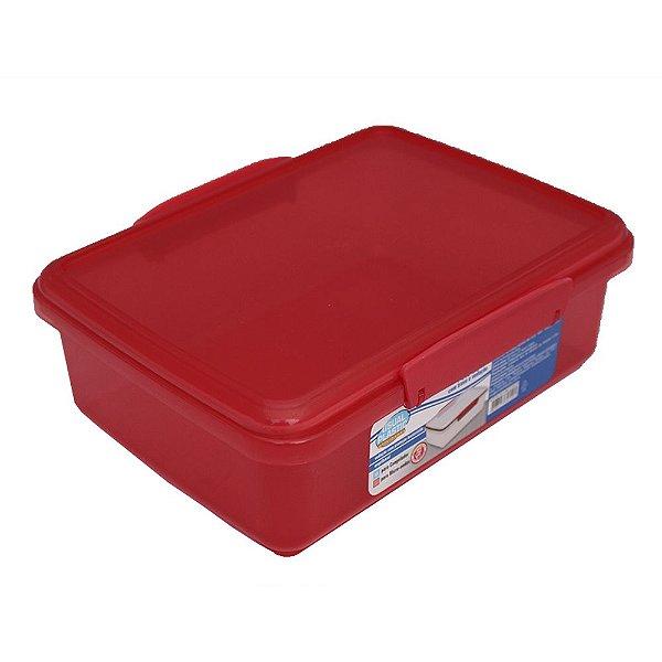 Pote com Tampa Vermelho Translúcido Usual Plastic com Trava e Vedação 2 Litros - Med: 23,1 × 17,3 × 7,8 cm - Ref. 249