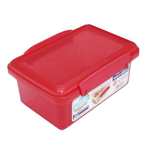 Pote com Tampa Vermelho Translúcido Usual Plastic com Trava e Vedação 1 Litro - Medidas: 17,2 × 11,8 × 7,8 cm - Ref. 246