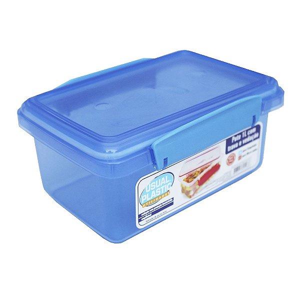 Pote com Tampa Azul Translúcido Usual Plastic com Trava e Vedação 1 Litro - Medidas: 17,2 × 11,8 × 7,8 cm - Ref. 245