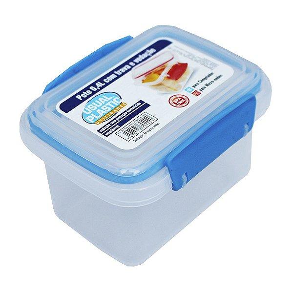 Pote com Tampa Azul Translúcido Usual Plastic com Trava e Vedação 0,4 Litros - Medidas: 11,3 x 8,5 x 7,8 cm - Ref. 241