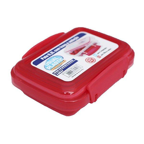 Pote com Tampa Vermelho Translúcido Usual Plastic com Trava e Vedação 0,2 Litros - Med: 11,3 x 8,5 x 3,9 cm - Ref. 240