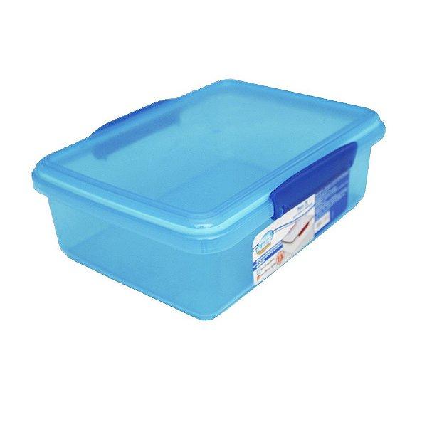 Pote com Tampa Azul Translúcido Usual Plastic com Trava e Vedação 2 Litros - Medidas: 23,1 × 17,3 × 7,8 cml - Ref. 248