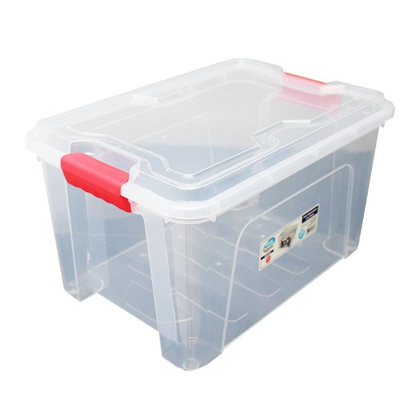 Organizador Multiuso de Plástico 20L Vermelho Tampa e Travas Usual Plastic 41,7 × 29,2 × 23 cm - Cor: Transp - Ref. 388