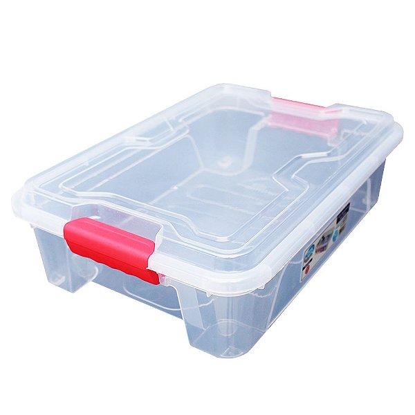 Organizador Multiuso de Plástico 10L Vermelho Tampa e Travas Usual Plastic 41,7 × 29,2 × 12,2 cm - Cor: Transp - Ref.366