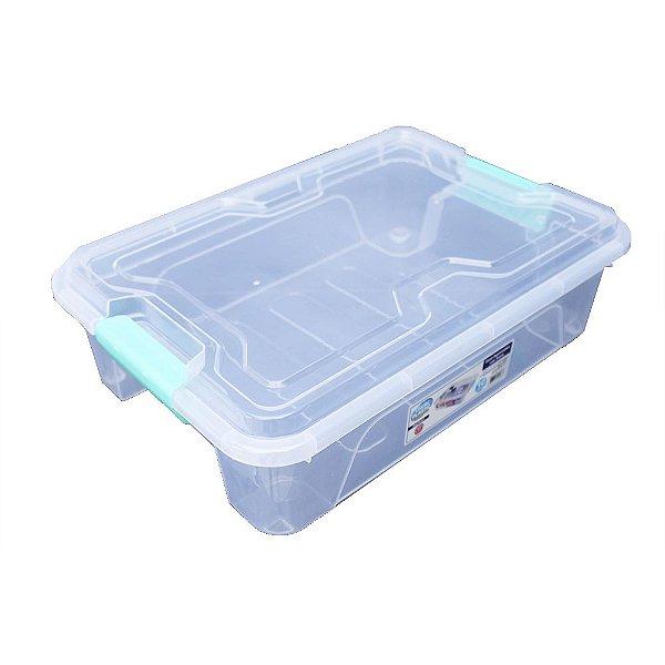 Organizador Multiuso de Plástico 10L Verde Tampa e Travas Usual Plastic 41,7 × 29,2 × 12,2 cm - Cor: Transp - Ref. 366
