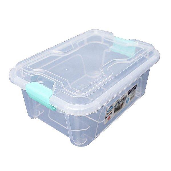 Organizador Multiuso de Plástico 5L Verde Tampa e Travas Usual Plastic 30 × 21,5 × 13,5 cm - Cor: Transp - Ref. 414