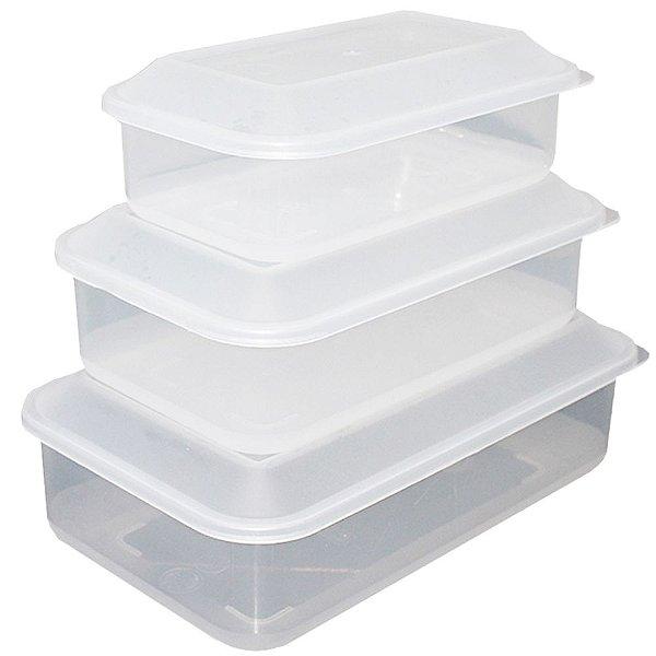 Kit com 3 Potes de Plástico Transparente com Tampa Usual Plastic - Capacidades: 0,65L, 1,1L e 1,8L - Ref. 260