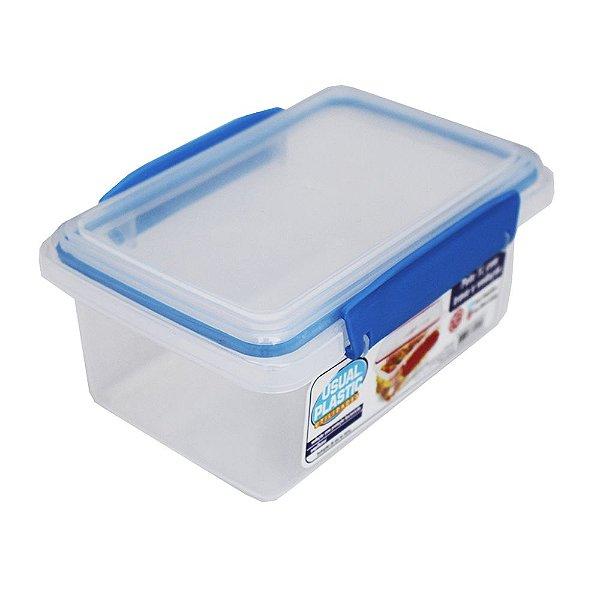 Pote com Tampa Translúcido Usual Plastic com Trava Azul e Vedação 1 Litro - Medidas: 17,2 × 11,8 × 7,8 cm - Ref. 244