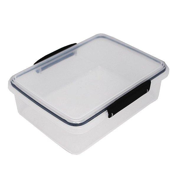Pote com Tampa Translúcido Usual Plastic com Trava Preto e Vedação 2 Litros - Medidas: 23,1 × 17,3 × 7,8 cm - Ref. 247