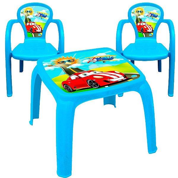 Conjunto Mesa com 2 Cadeiras Infantil Decorada de Usual Plastic 57 x 57 x 45 cm - Modelo: Azul Carros