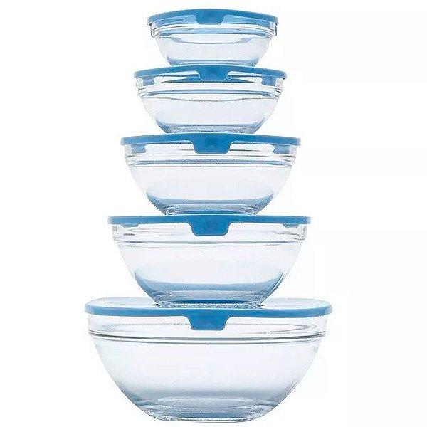 Conjunto de 5 Bowls Bon Gourmet de Vidro com Tampa de Plástico Azul - Ref. 25622