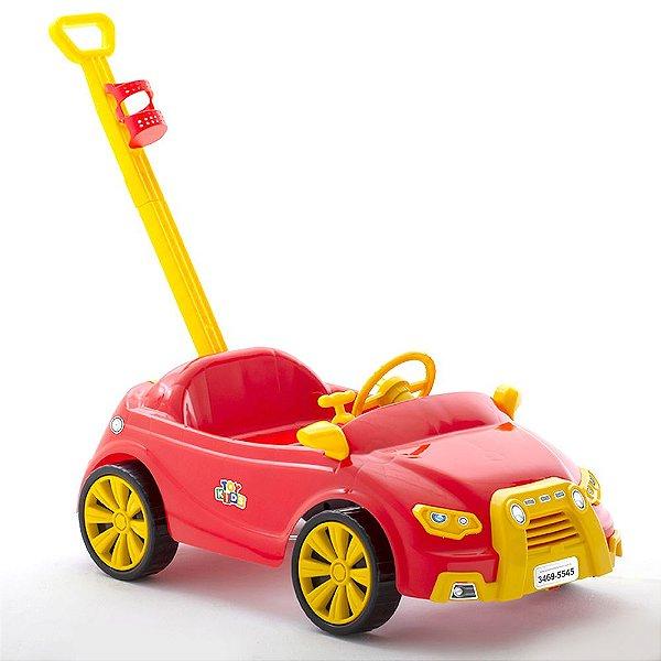 Carro Toy Kids 2 e 1 Color com Puxador e Suporte para Garrafa Paramount Cor Vermelho - Ref. 909