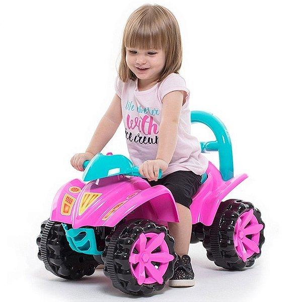 Quadriciclo 2 em 1 com Empurrador Velotrol Infantil Toy Kids Rosa 95 x 80 x 40 cm Paramount - Ref. 873