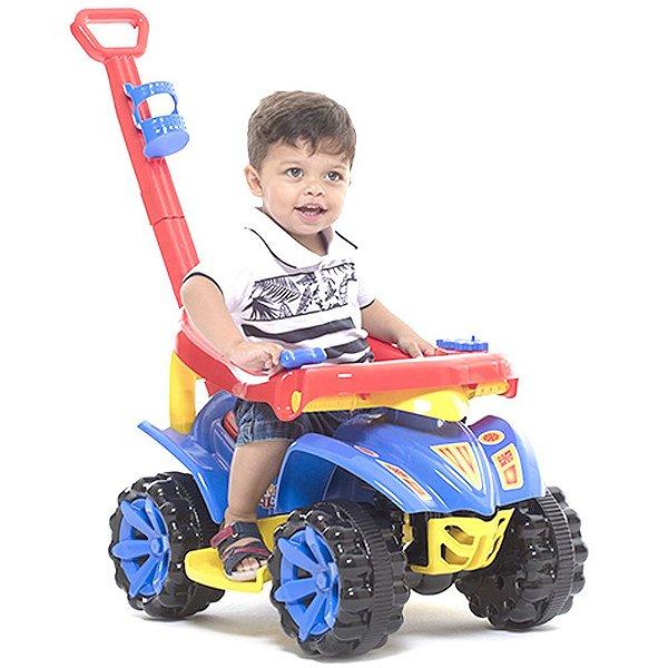 Quadriciclo 2 em 1 com Empurrador Velotrol Infantil Toy Kids Azul 95 x 80 x 40 cm Paramount - Ref. 873