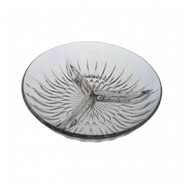 Petisqueira de Vidro c/ 3 Divisões Diamond 22cm