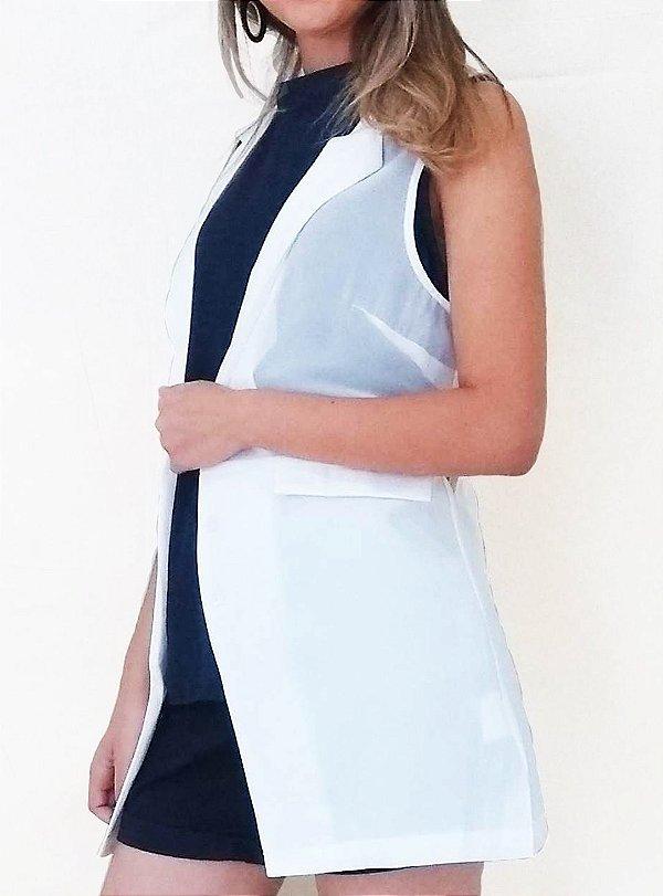 Maxi colete branco com transparência