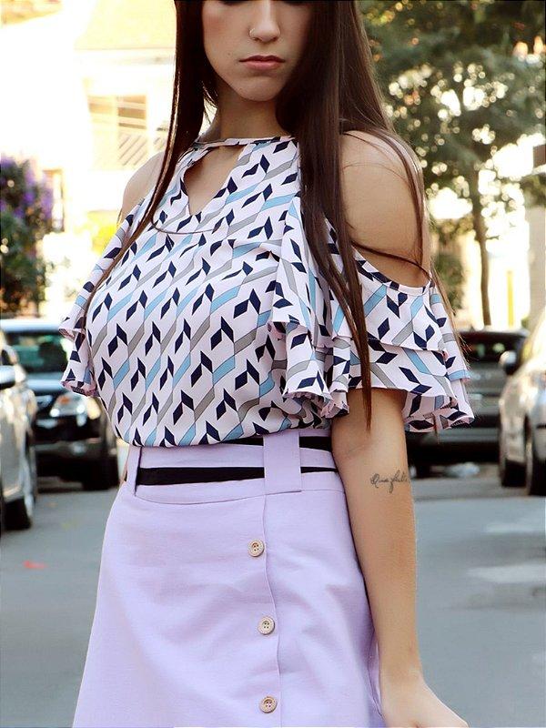 Blusa rose com manga babados