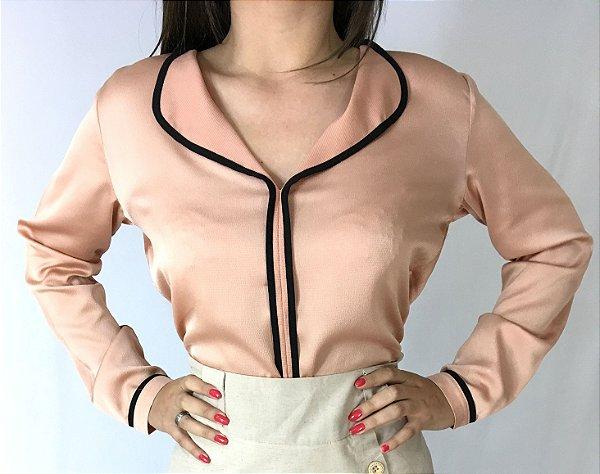 Camisa pijama seda rosê