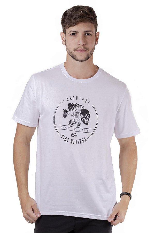 """Camiseta Manga Curta Branca Com Estampa Na Frente """"Coleção Indonésia"""""""