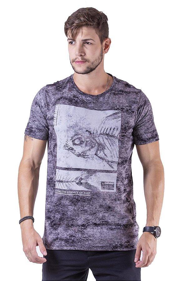"""Camiseta Manga Curta Preta Estampada Em Tecido Especial """"Coleção Indonésia"""""""