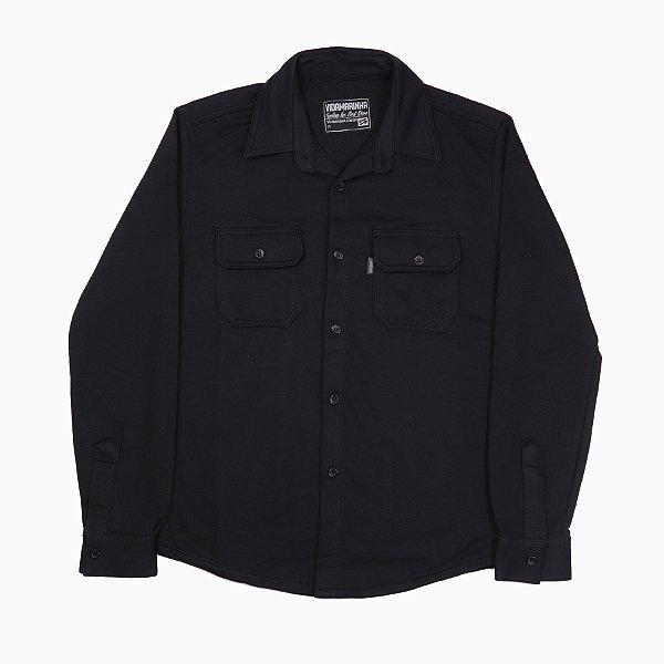 Camisa Manga Longa Preta Em Moletinho Careca Com Bolso E Com Botões