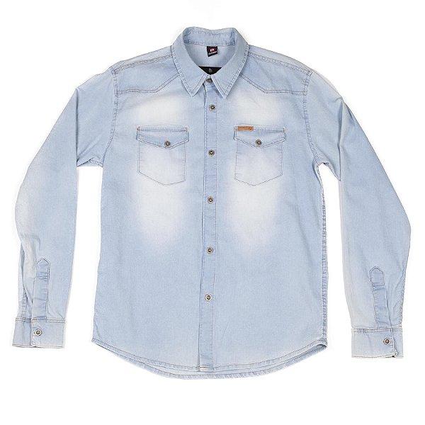 Camisa Manga Longa Jeans Com Bolsos Frontais E Botões Diferenciados