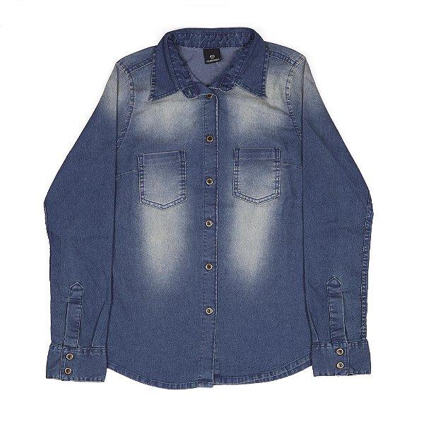 Camisa Jeans Feminina Com Botões E Bolsos Frontais